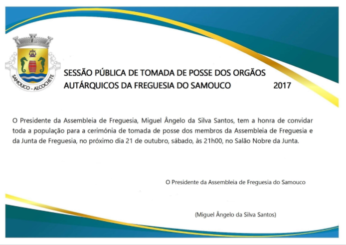 Junta de Freguesia do Samouco: tomada de posse